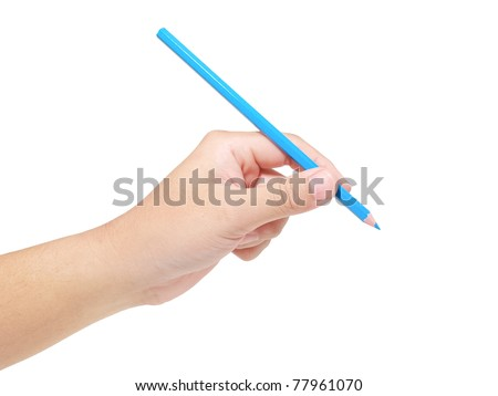 Hand holding color pencil on white background