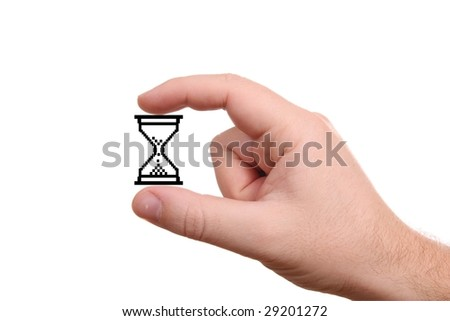 Hand holding computer hour-glass, isolated on white background