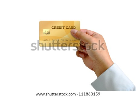 hand holding credit card isolated on white with Clipping Part