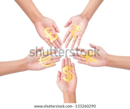 hand holding different currency symbols.