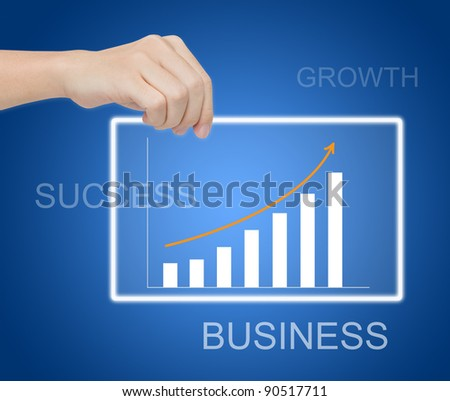 hand holding digital business graph