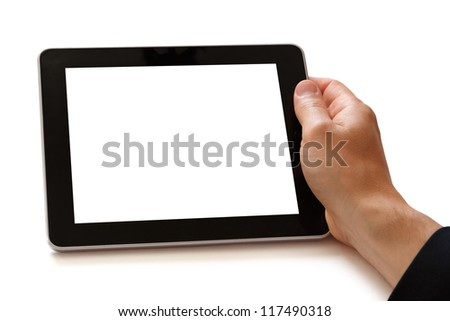 hand holding digital tablet - stock photo