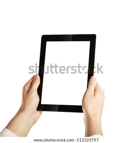 Hand Holding Digital Tablet, isolated - stock photo
