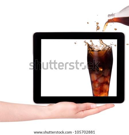 Hand Holding Digital Tablet with fresh splashing
