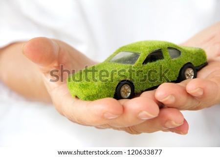 Hand Holding Eco car icon