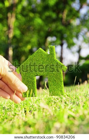 hand holding eco house icon