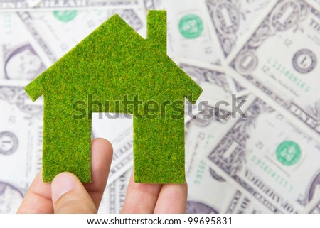 hand holding eco house icon, save money concept