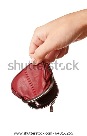 Hand holding empty wallet, isolated on white