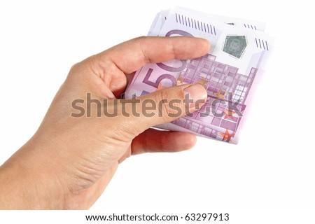 Hand holding 500 euro bills