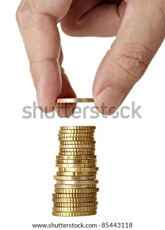 hand holding   euro coins on white background with clipping path