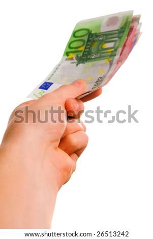 Hand holding euro money. Isolated on white.