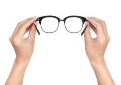 hand holding Eye Glasses Isolated on White background