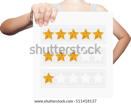 hand holding five star .Business, technology, internet concept. Stock Photo #511418137