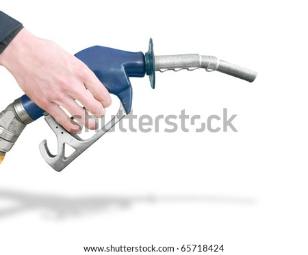 Hand Holding Gas Station Pump Preparing To Refuel Car Isolated On White Background
