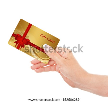 hand holding gift card isolated over white background #152506289