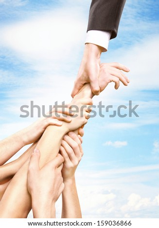 hand holding group hands, help concept