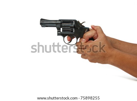 hand holding gun isolated on white background