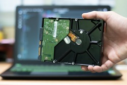 Hand holding hard disk 3.5 inch.