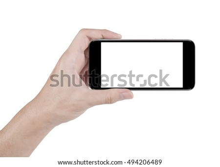hand holding horizontal the black smartphone with white screen, isolated on white background with clipping path #494206489