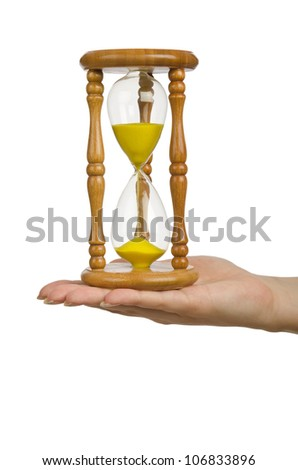 Hand holding hourglass on white