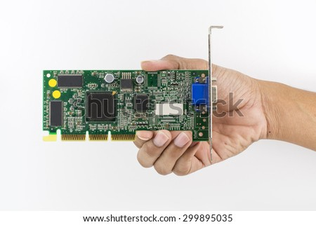 Hand holding IC chip Computer Graphics isolated on white