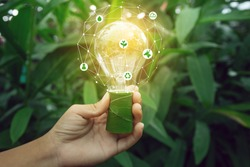 Hand holding light bulb against nature on green leaf with icons energy sources for renewable, sustainable development. Ecology concept