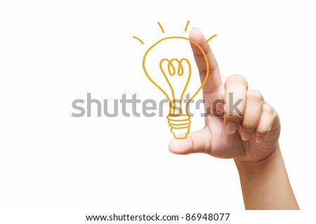 hand holding light bulb. Isolated on white background