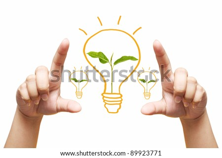 hand holding light bulb. Isolated on white background,young plant in a light bulb