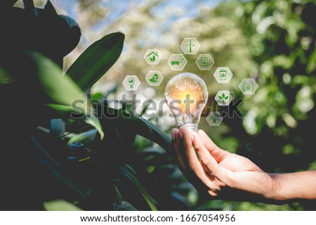 Hand holding light bulb with icons energy sources for renewable,natural energy and love the world concept. Foto stock ©