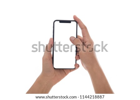 hand holding lock screen phone mobile and touching screen isolated on white background
