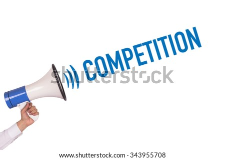 Hand Holding Megaphone with COMPETITION Announcement