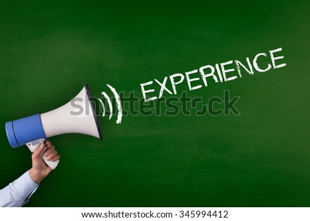 Hand Holding Megaphone with EXPERIENCE Announcement #345994412