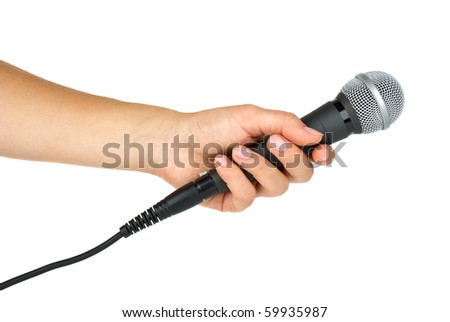 Hand holding microphone  isolated on the white background