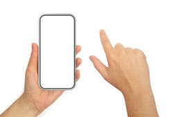 Hand Holding Mobile Phone and Hand With Pointing Finger Isolated on White Background.