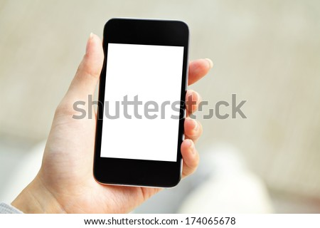Hand holding mobile phone with blank screen #174065678