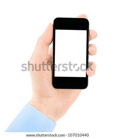 Hand holding mobile phone with blank screen. Isolated on white.