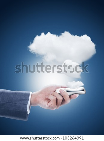 hand holding mobile phone with cloud computing