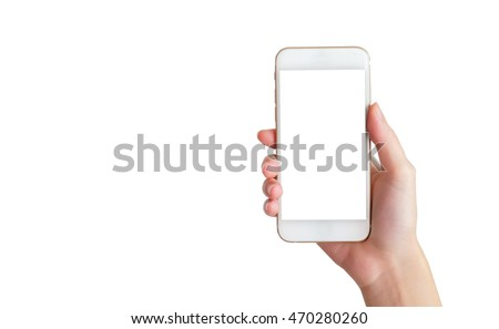 hand holding mobile phone with isolated background