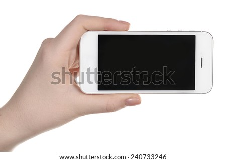 Hand holding mobile smart phone isolated on white #240733246