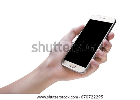 hand holding mobile smart phone  isolated on white background,clipping path #670722295