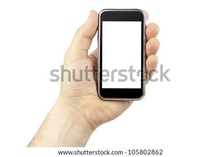 Hand holding mobile smart phone with blank screen isolated on white.
