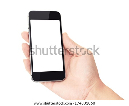 Hand holding mobile smart phone with blank screen, isolated on white #174801068