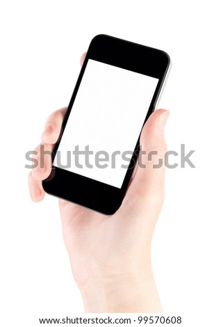 Hand holding mobile smart phone with blank screen. Isolated on white.