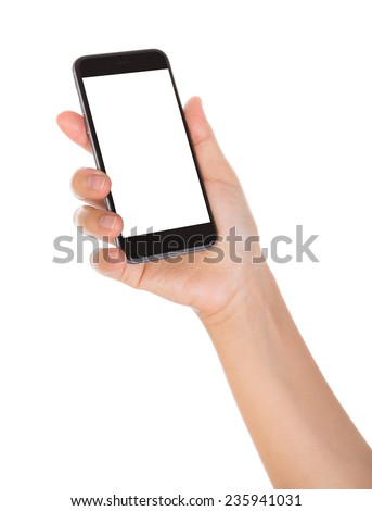 Hand holding mobile smart phone with blank screen Isolated on white background #235941031