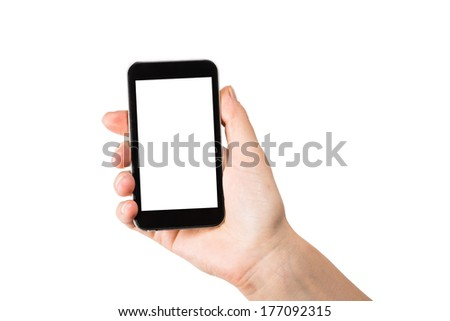 Hand holding mobile smart phone with blank screen.  on white. #177092315