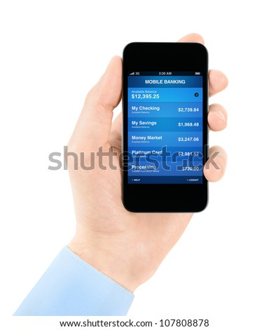 Hand holding mobile smart phone with mobile banking application on a screen. Isolated on white. - stock photo