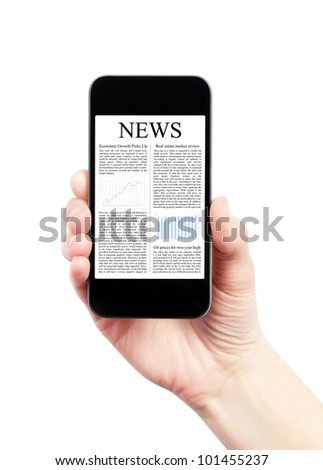 Hand holding mobile smart phone with news article on the screen. Isolated on white.