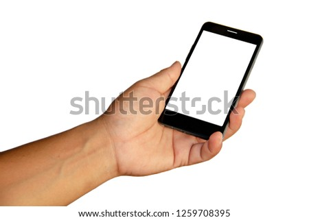 Hand holding mobile smartphone with blank screen. Mobile photography concept. Isolated on white background, cliping path inside. #1259708395