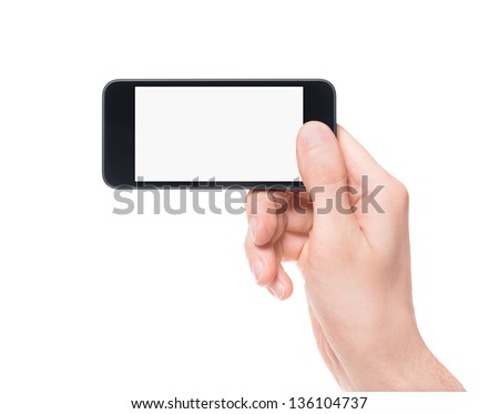 Hand holding mobile smartphone with blank screen. Mobile photography concept. Isolated on white.