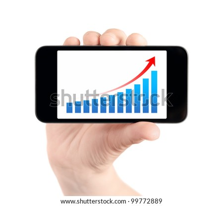 Hand holding modern mobile smart phone with success growth chart on screen. Isolated on white.